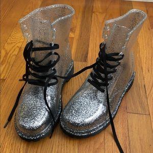 Transparent glitter boots